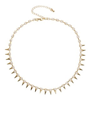 Image 2 ofASOS Under Collar Spike &amp; Stone Necklace