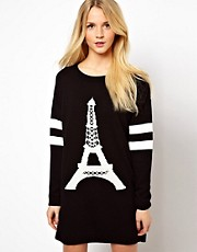 Vestido estilo suter con estampado de la torre Eiffel de ASOS