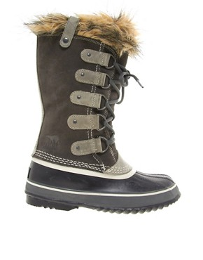 Image 4 ofSorel Joan of Arctic Dark Grey Faux Fur Cuff Boots