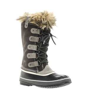 Image 1 ofSorel Joan of Arctic Dark Grey Faux Fur Cuff Boots