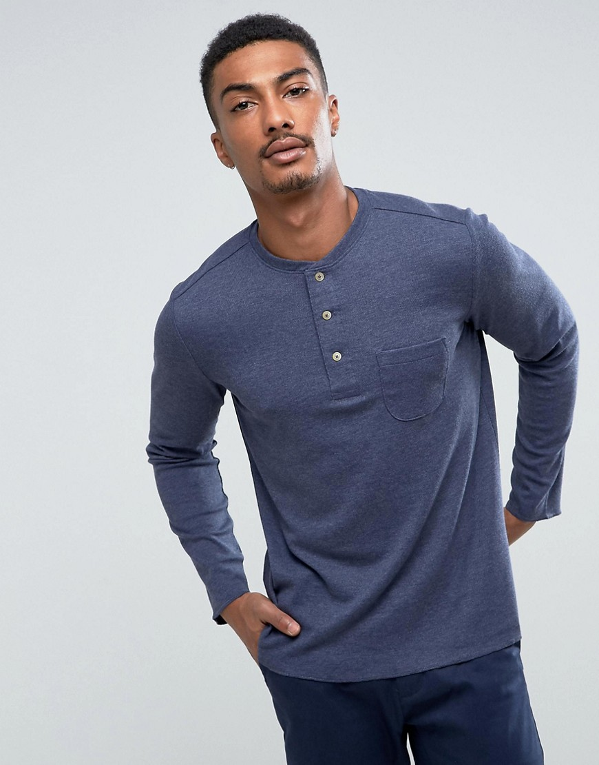 Mango Man Long Sleeve Top With Buttons In Navy - Navy