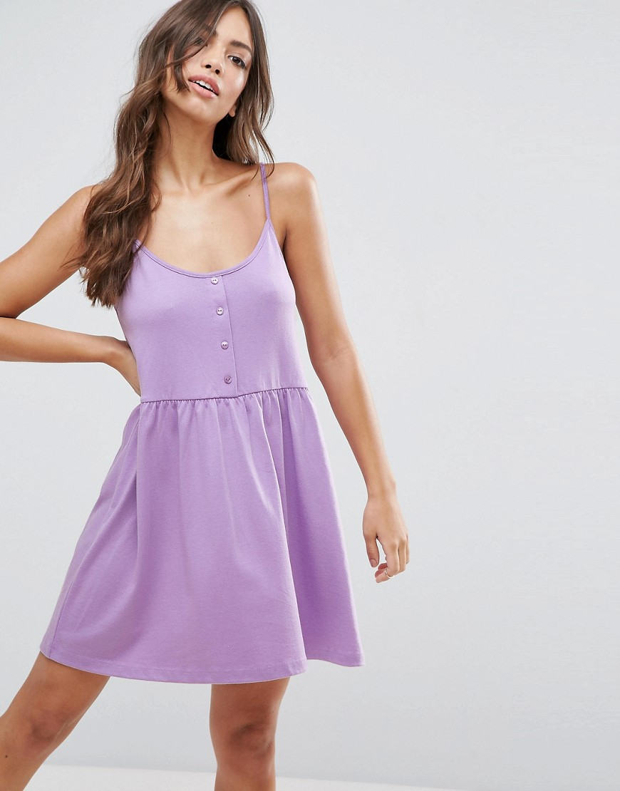 ASOS Cami Smock Dress with Button Placket - Purple
