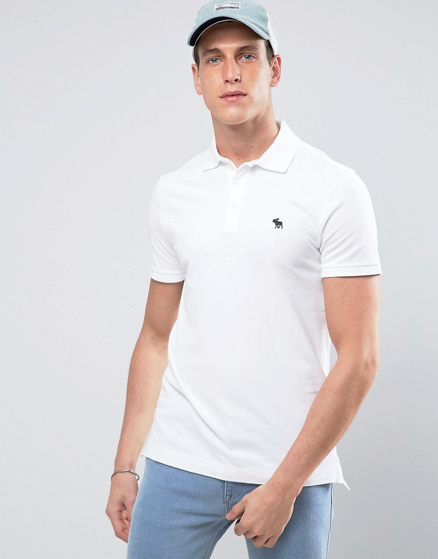 Abercrombie & Fitch Polo Muscle Slim Fit Stretch Pique in White - White