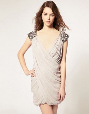 French Connection Silk Embellished Shoulder Drape Dress