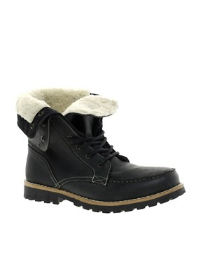 Image 1 of ASOS Foldover Shearling Lined Boot
