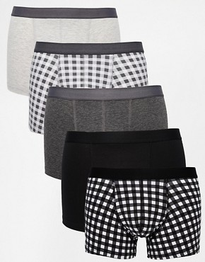 ASOS 5 Pack Trunks With Gingham Print