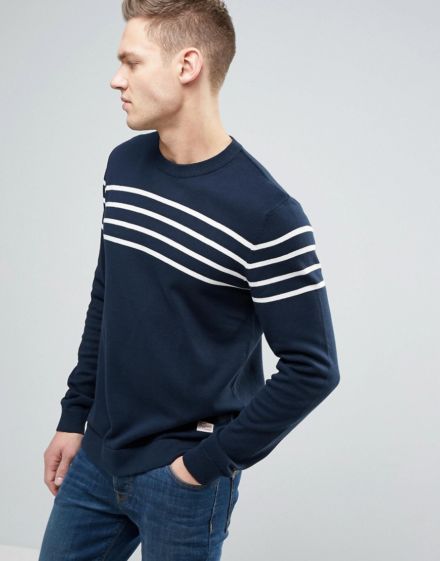Jack & Jones Originals 100% Cotton Sweater With Stripe - Navy