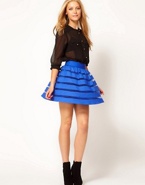 Image 1 ofASOS Mini Skirt in Sheer and Solid Stripe
