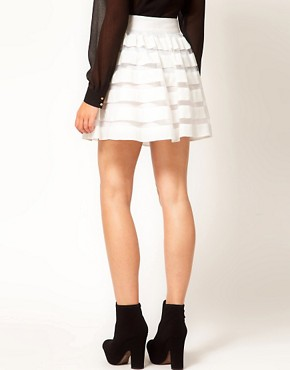 Image 2 of ASOS Mini Skirt in Sheer and Solid Stripe