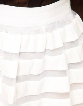 Image 3 of ASOS Mini Skirt in Sheer and Solid Stripe