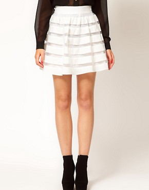 Image 4 of ASOS Mini Skirt in Sheer and Solid Stripe