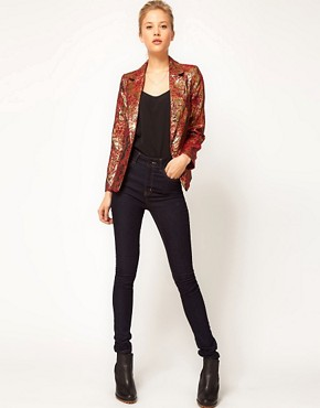 Image 4 ofASOS PETITE Exclusive Blazer In Metallic Jacquard