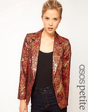 ASOS PETITE Exclusive Blazer In Metallic Jacquard