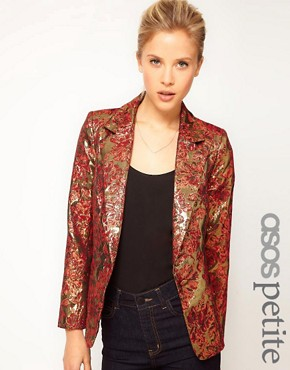Image 1 ofASOS PETITE Exclusive Blazer In Metallic Jacquard