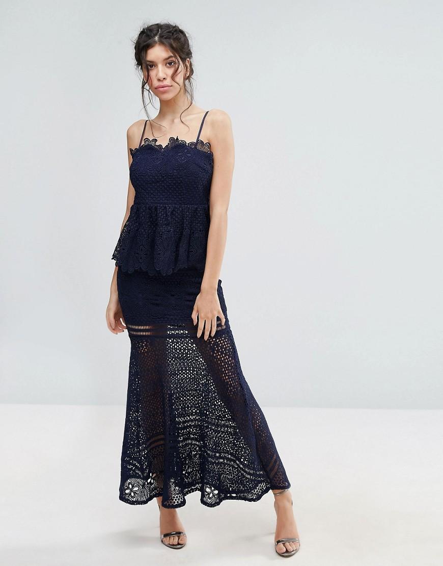 Love Triangle Lace Peplum Maxi Dress - Navy