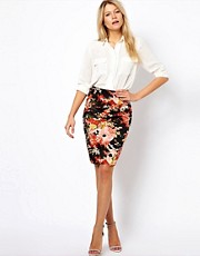 Oasis Oriental Floral Print Pencil Skirt
