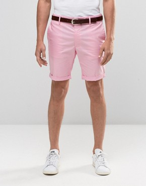 River Island Chino Shorts With Belt In Slim Fit Pink