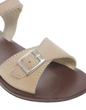 Image 2 ofASOS FLUTTER Leather Flat Sandals with Buckle