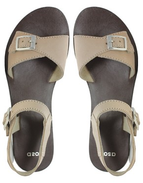 Image 3 ofASOS FLUTTER Leather Flat Sandals with Buckle