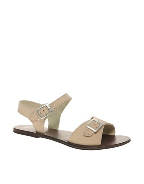 Image 1 ofASOS FLUTTER Leather Flat Sandals with Buckle