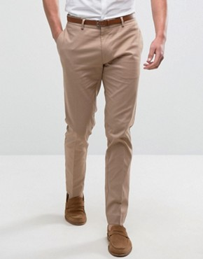 ASOS Skinny Smart Chino Trousers In Stone