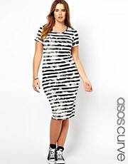 ASOS CURVE Bodycon Midi Dress In Grunge Stripe