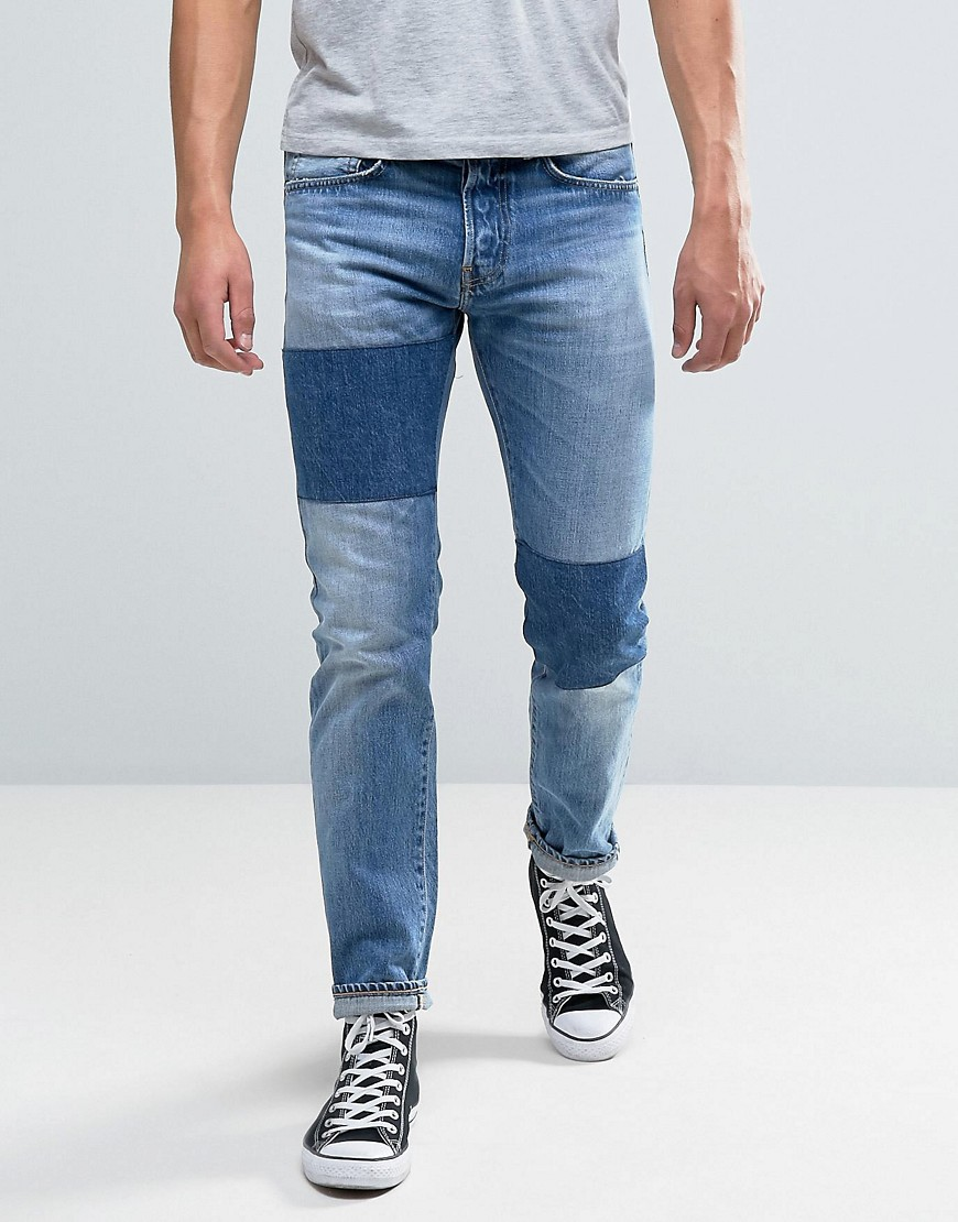 Edwin ED-80 Slim Tapered Jeans Light Sheild Wash Dye Patches - Light shield wash