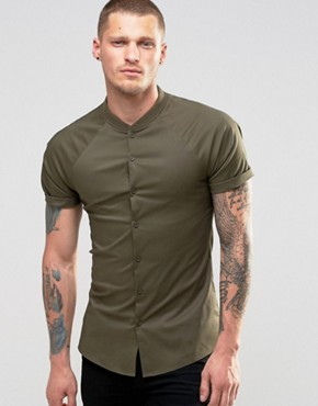 ASOS Skinny Shirt With Raglan Sleeves In Khaki