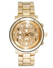 River Island Gold Emily Chronograph Watch