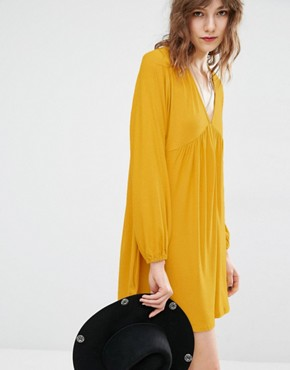 Mango Plunge Neck Smock Dress