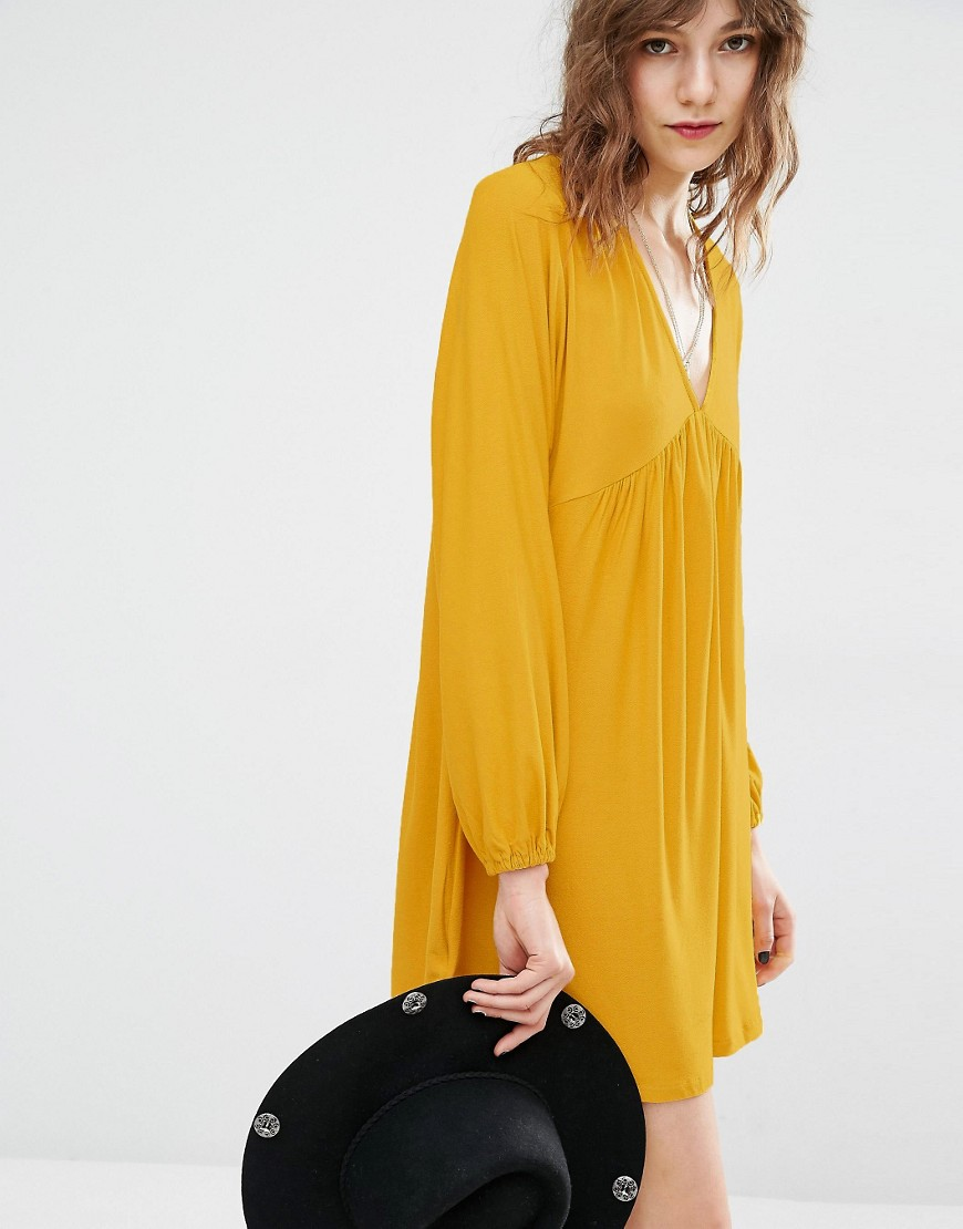 Mango Plunge Neck Smock Dress - Yellow