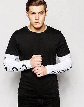 Jack & Jones Double Layer Long Sleeve Top with Sleeve Print