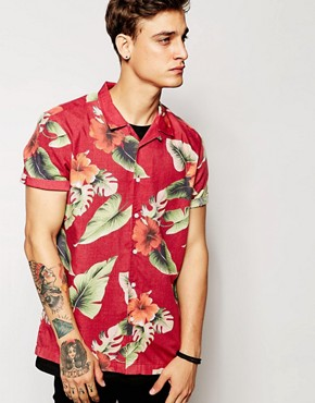 ASOS Viscose Shirt In Short Sleeve With Hibiscus Floral Print