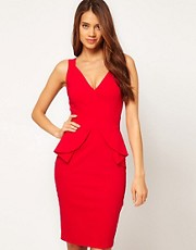 Hybrid Plunge Neck Peplum Midi Pencil Dress