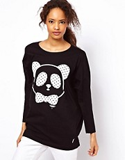 White Chocoolate Panda Print Drape Top In Marl Jersey