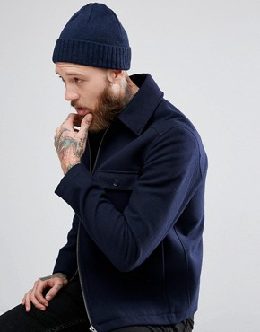 ASOS Lambswool Fisherman In Navy