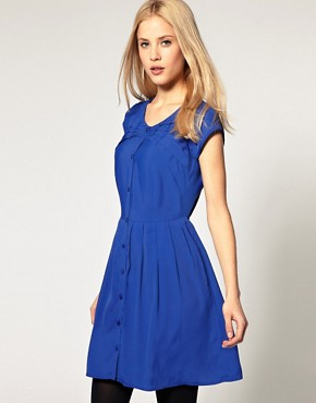 Image 1 ofASOS Button Through Dress with Pintucks