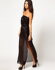 Club L Sequin Dress With Thigh High Split
