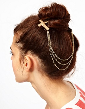 Image 1 of ASOS Hair Cross Combs with Hanging Chain