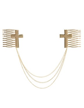 Image 2 of ASOS Hair Cross Combs with Hanging Chain