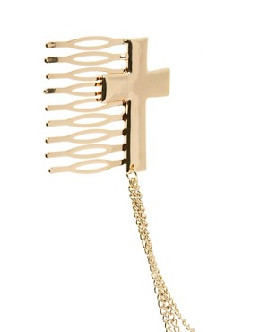 Image 3 of ASOS Hair Cross Combs with Hanging Chain