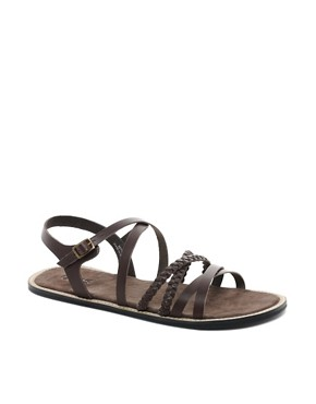 Image 1 ofASOS Plait &amp; Strap Leather Sandals