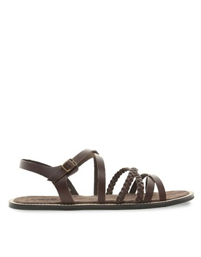 Image 4 ofASOS Plait &amp; Strap Leather Sandals
