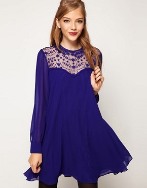 Image 1 ofASOS Swing Dress With Lace Insert And Peter Pan Collar