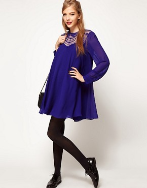 Image 4 ofASOS Swing Dress With Lace Insert And Peter Pan Collar