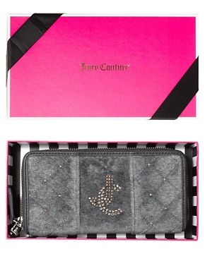 Image 3 ofJuicy Couture Quilted Velour Zip Wallet