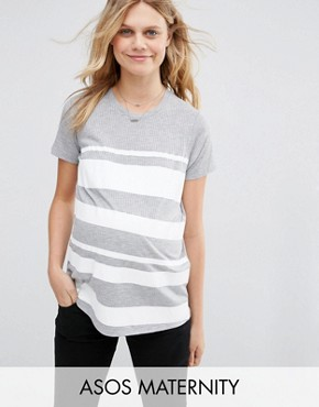 ASOS Maternity T-Shirt in Block Print Stripe