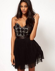Lipsy VIP Flower Bust Pleated Bandeau Prom Dress
