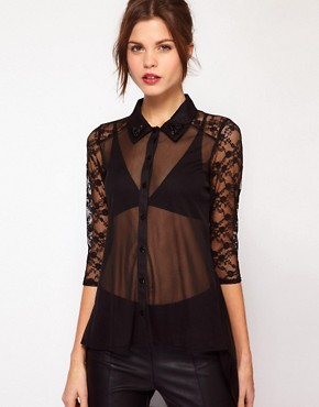 Image 1 ofWarehouse Beaded Collar Lace Blouse