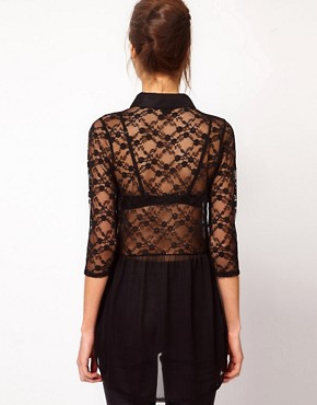 Image 2 ofWarehouse Beaded Collar Lace Blouse